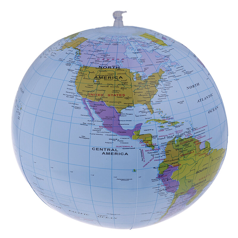 Inflatable Blow Up World Globe 40CM Earth Atlas Ball Map Geography Map Ball Toy