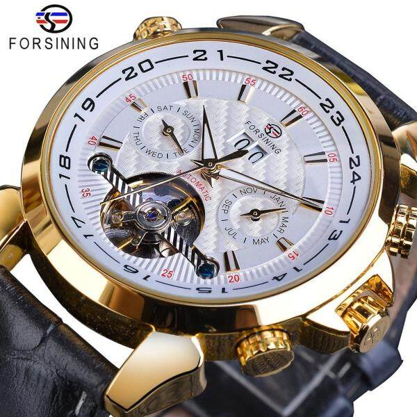 Forsining Automatic Mechanical Mens Golden Tourbillon Moonphase Date Genuine Leather Business Malaysia