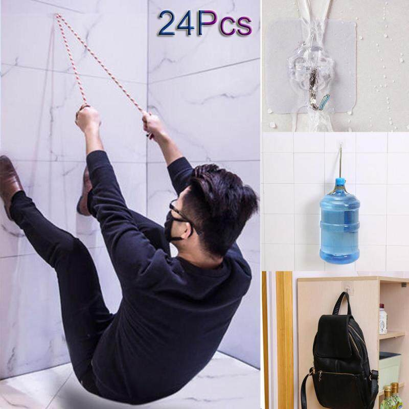Hotilystore 24x Strong Transparent Suction Cup Sucker Wall Hooks Hanger For Kitchen Bathroom