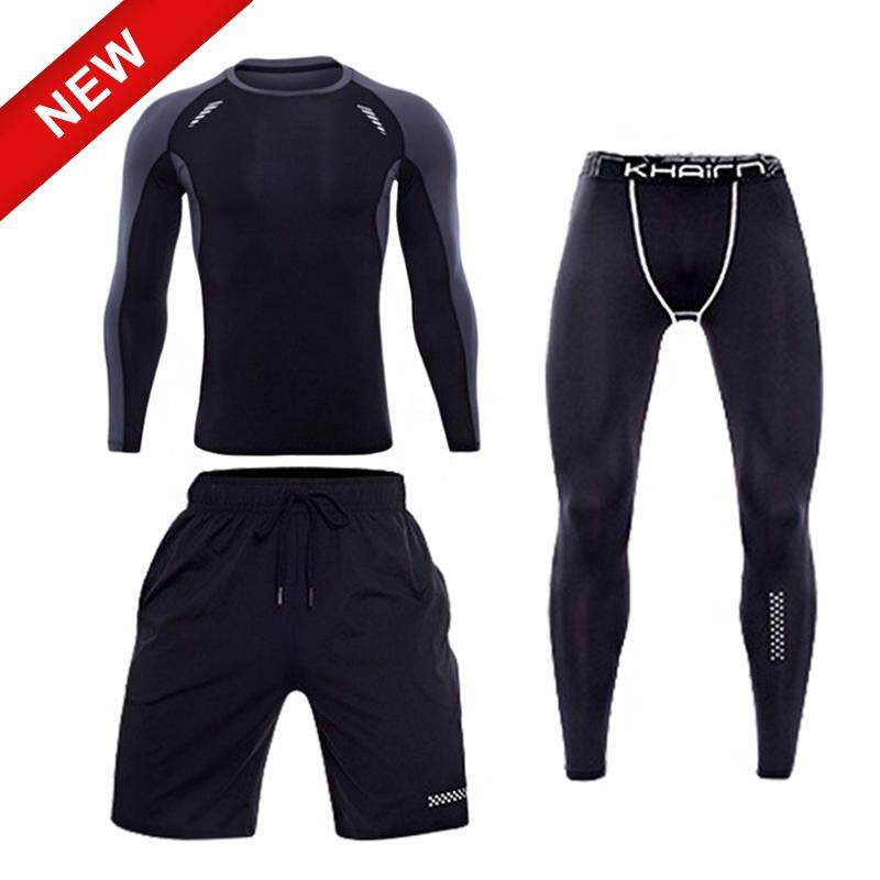 c29384f05f Victory 3PCS/set New Quick drying Men Clothing Compression Fitness Suit Sports  Tights Gym Men