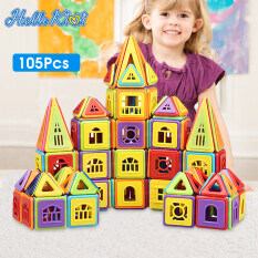 HelloKimi 105Pcs Đồ Chơi Trẻ Em Khối Xây Dựng Đồ Chơi Cho Mini Magnetic Building Blocks 3D DIY Building Blocks Pieces Construction Toys Set Children Creative Magnetic Block (Please refer to the main pictures for accessories included in the product)