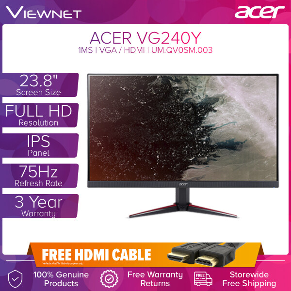 (Pre Order 14 June) ACER NITRO VG240Y 23.8 IPS 75HZ 1MS FHD AMD FREESYNC GAMING MONITOR WITH VGA, HDMIx2, AUDIO IN/OUT Malaysia