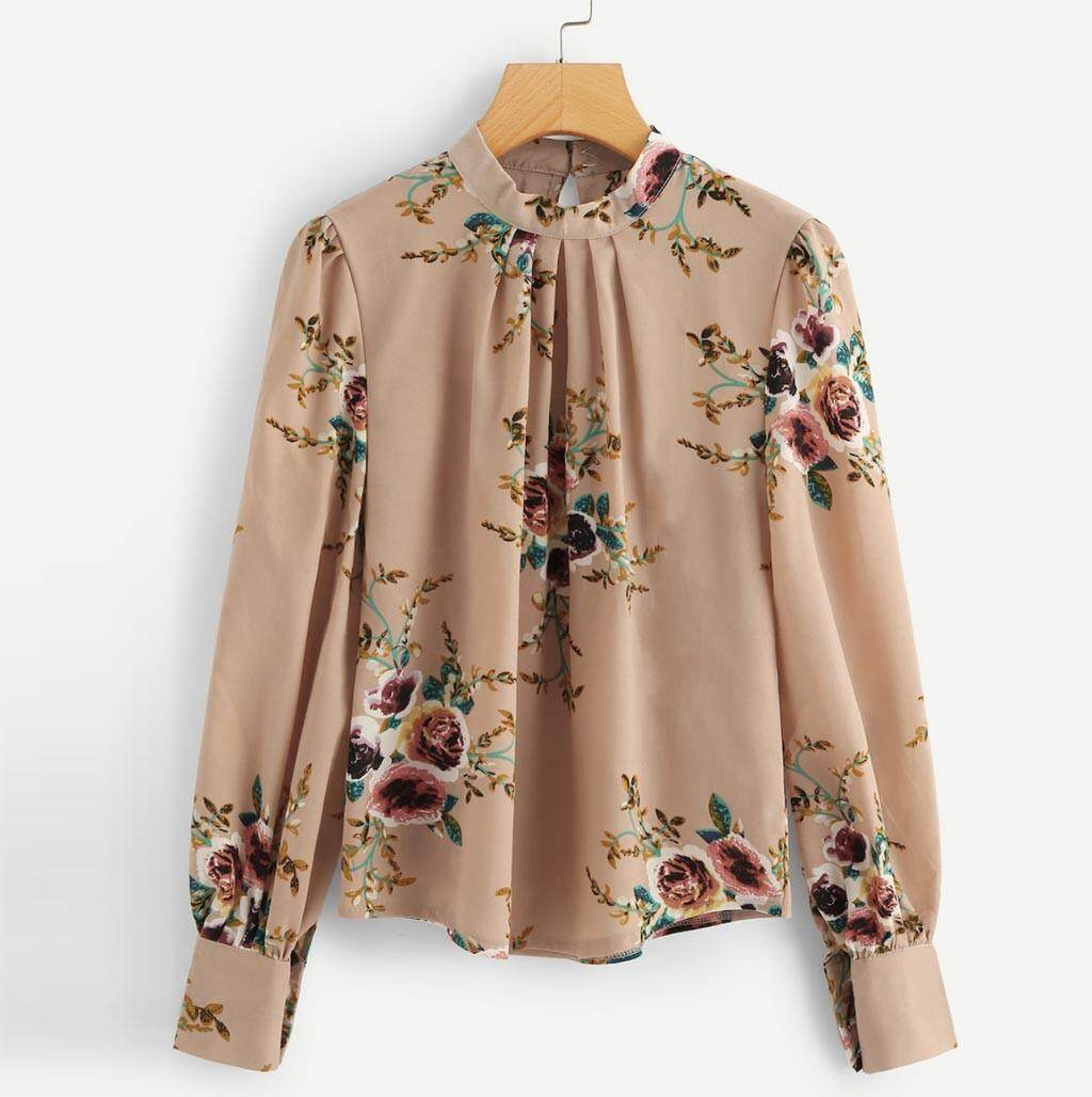 044e2f11b Plus Size Big Size Summer Floral Print Blouse Cotton Women Casual Print  Blouse Stand Long Sleeve Loose Blouse
