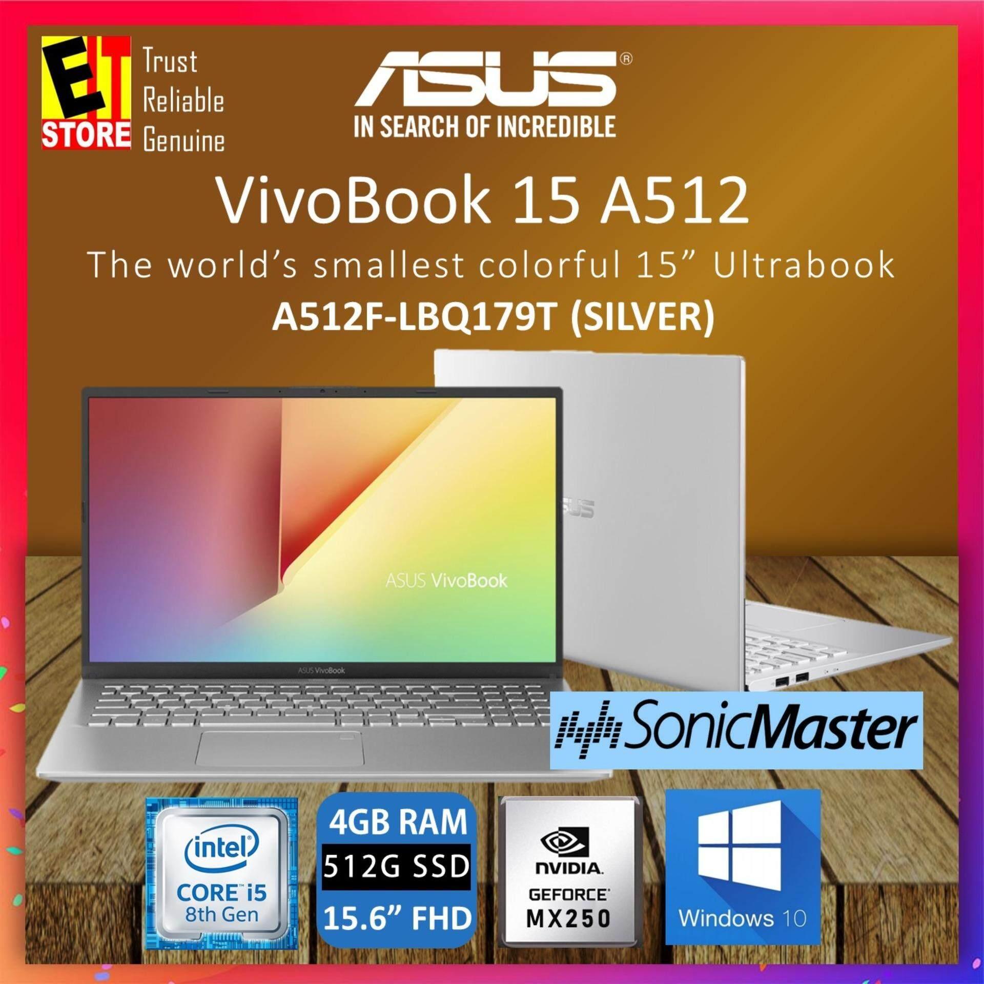 ASUS VIVOBOOK A512F-LBQ179T LAPTOP SILVER (I5-8265U/4GB/512GB/15.6  FHD/MX250 2GB/W10/2YRS) + BAG Malaysia