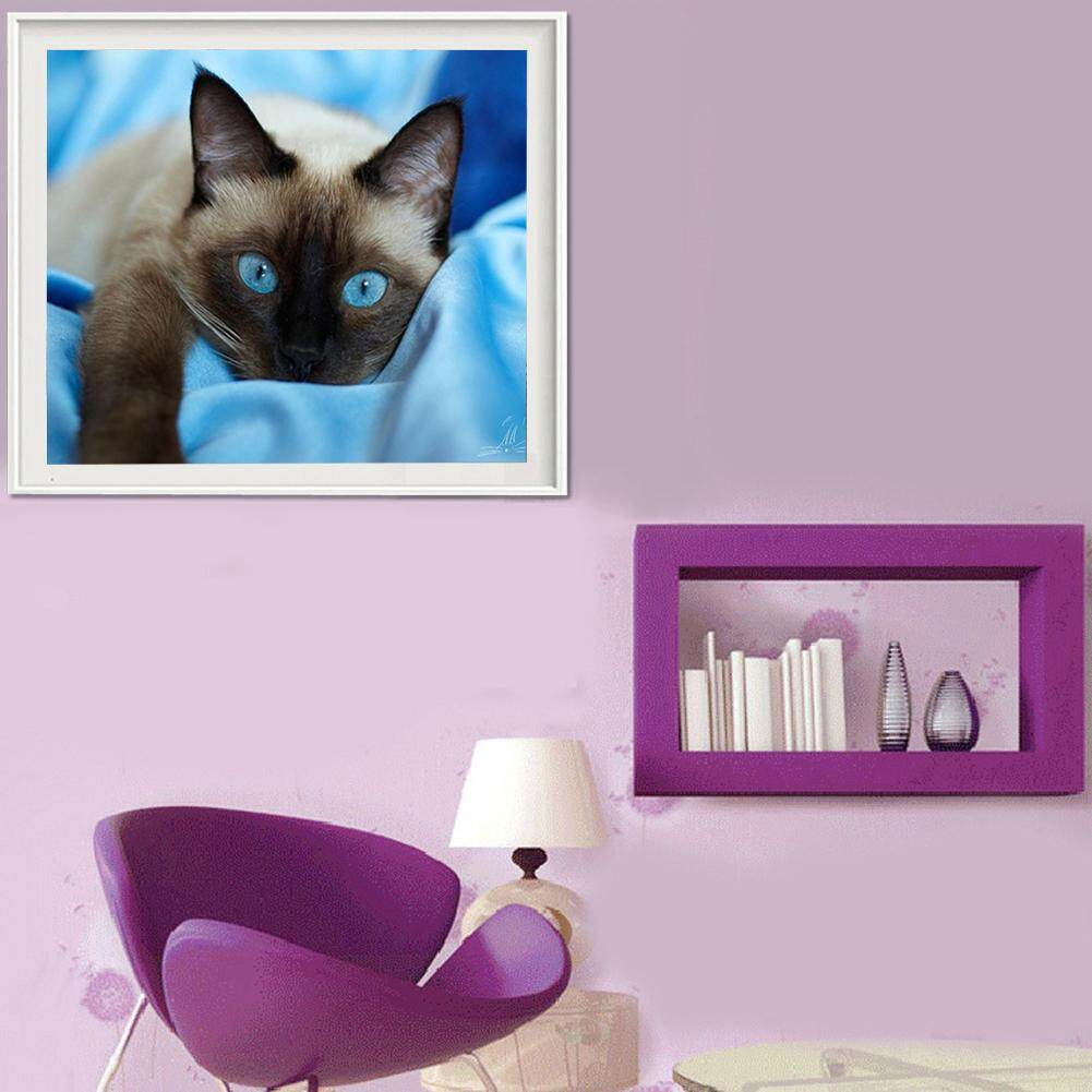 Full Drill Blue Eyed Cat 5D Diamond DIY Painting Craft Kit Home Decor
