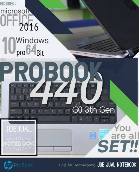 HP PROBOOK 440 GO/INTEL I5 3230M/2.6GHz max 3.2GHz/4GB RAM/500GB HDD/WINDOWS 10 PRO/MS OFFICE 2016 Malaysia