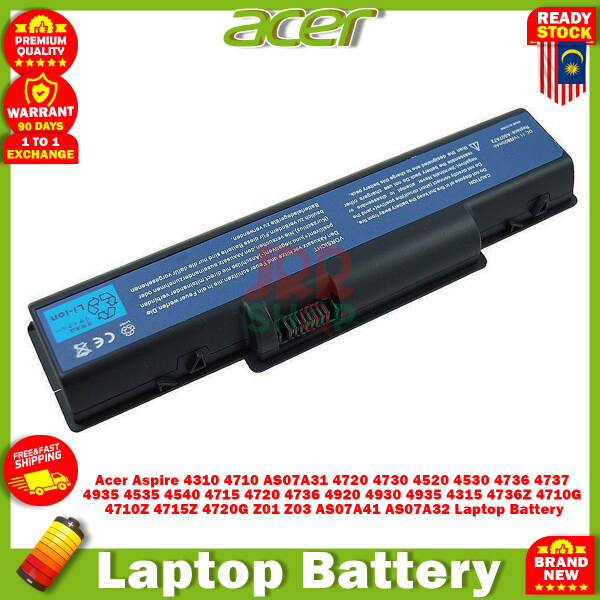 Acer Aspire 4310 4710 AS07A31 4720 4730 4520 4530 4736 4737 4935 4535 4540 4715 4720 4736 4920 4930 4935 4315 4736Z 4710G 4710Z 4715Z 4720G Z01 Z03 AS07A41 AS07A32 Laptop Battery Replacement New Part Malaysia