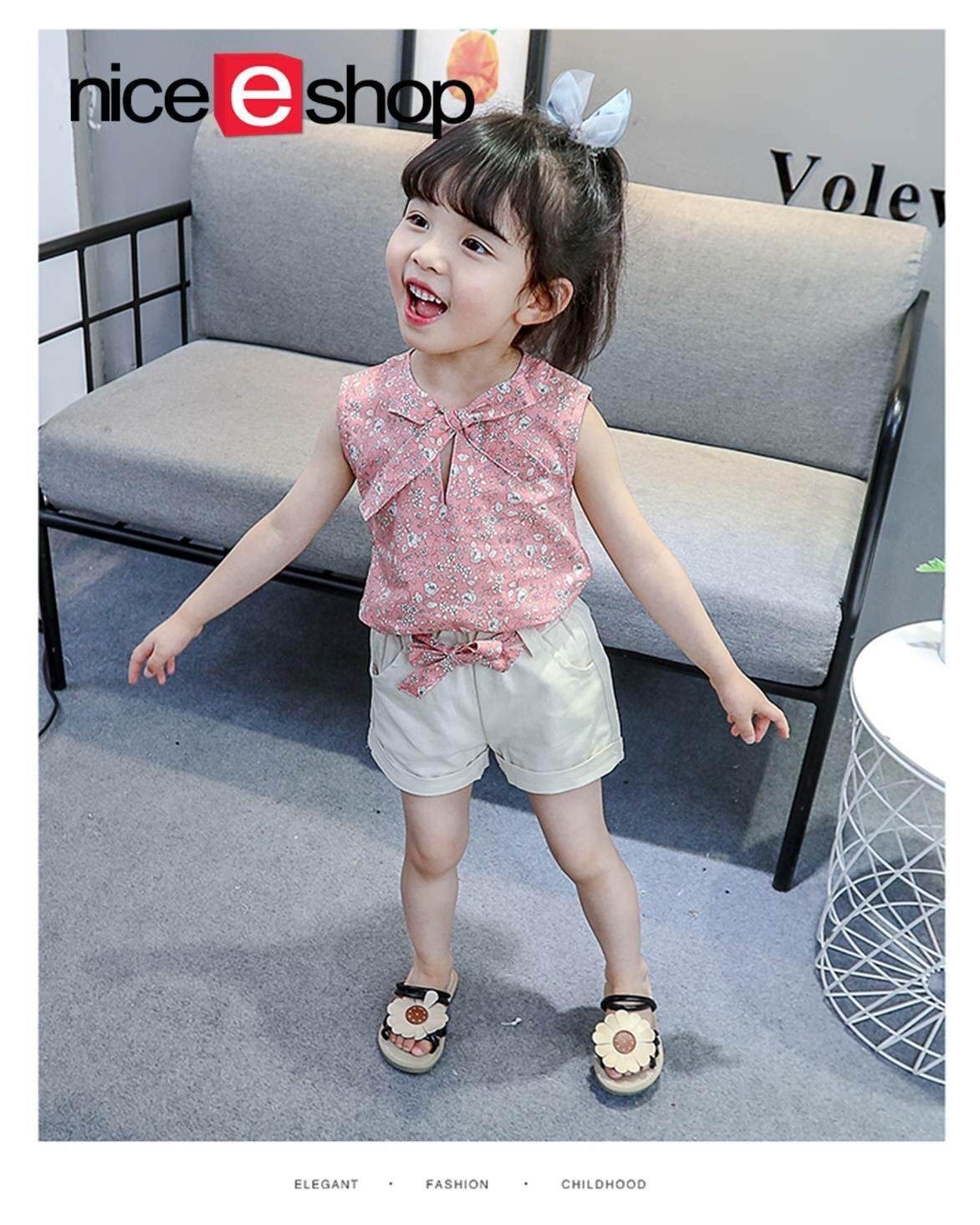 e0caacabe87e76 niceEshop Baby Girl Clothes Fashion Cartoon Girls Summer Set Clothes Baby  Suits Kids T Shirt +