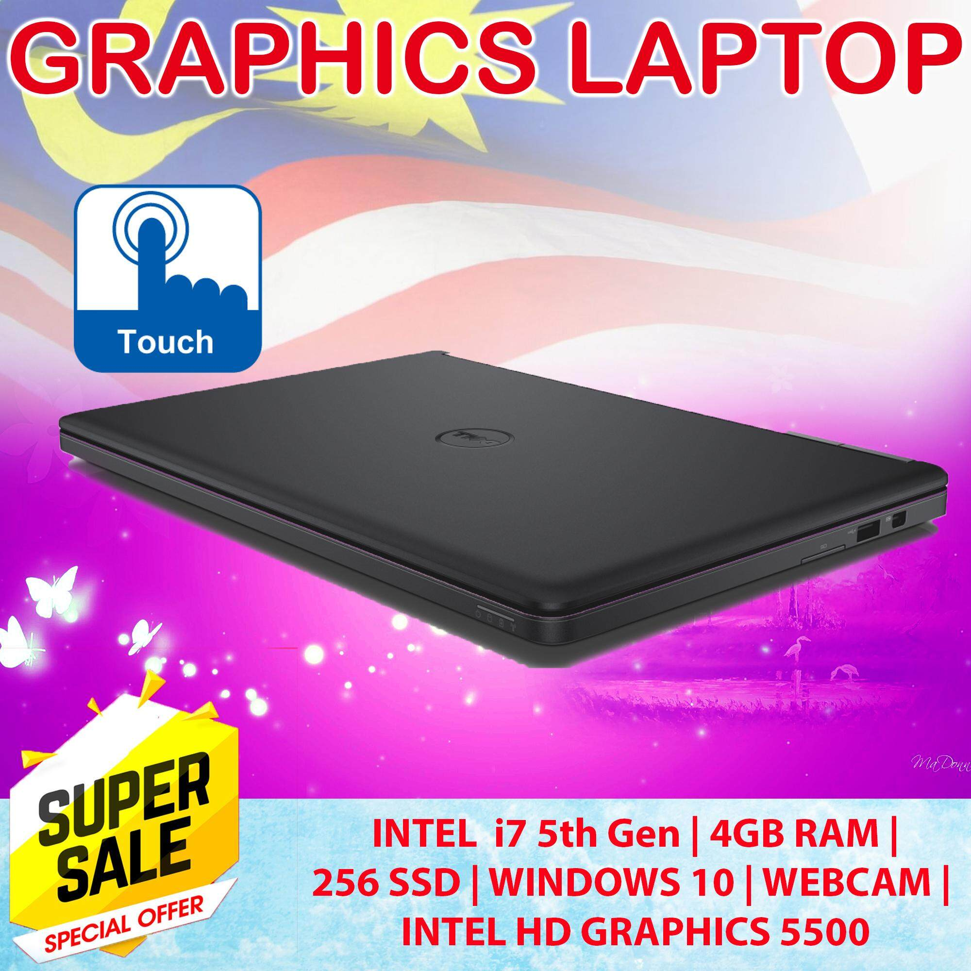 Dell Slim Graphic (TouchScreen) Laptop E5250 - intel  i7 5th Gen, 4GB RAM, 256Gb SSD , Intel HD Graphics 5500, 6 Months Warranty - Free Bag + Free items Malaysia