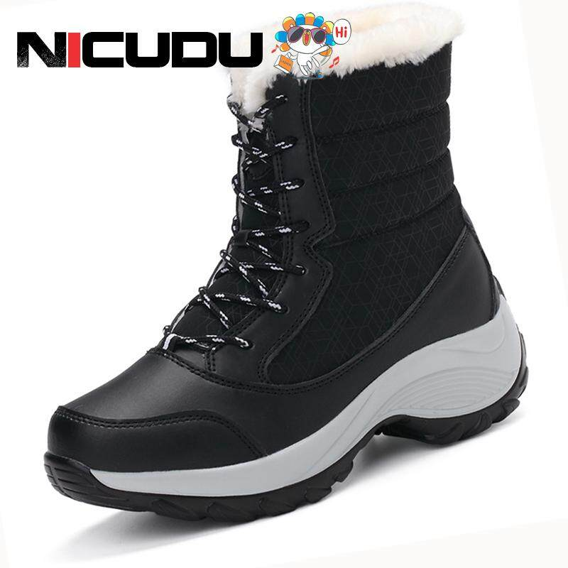 b960ad140 NICUDU Women Snow Boots Winter Warm Boots Thick Bottom Platform Waterproof  Ankle Boots for Women Thick Fur Cotton Shoes