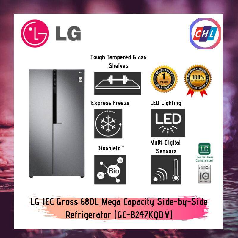 LG Gross 680L Side-by-Side Refrigerator (GC-B247KQDV)