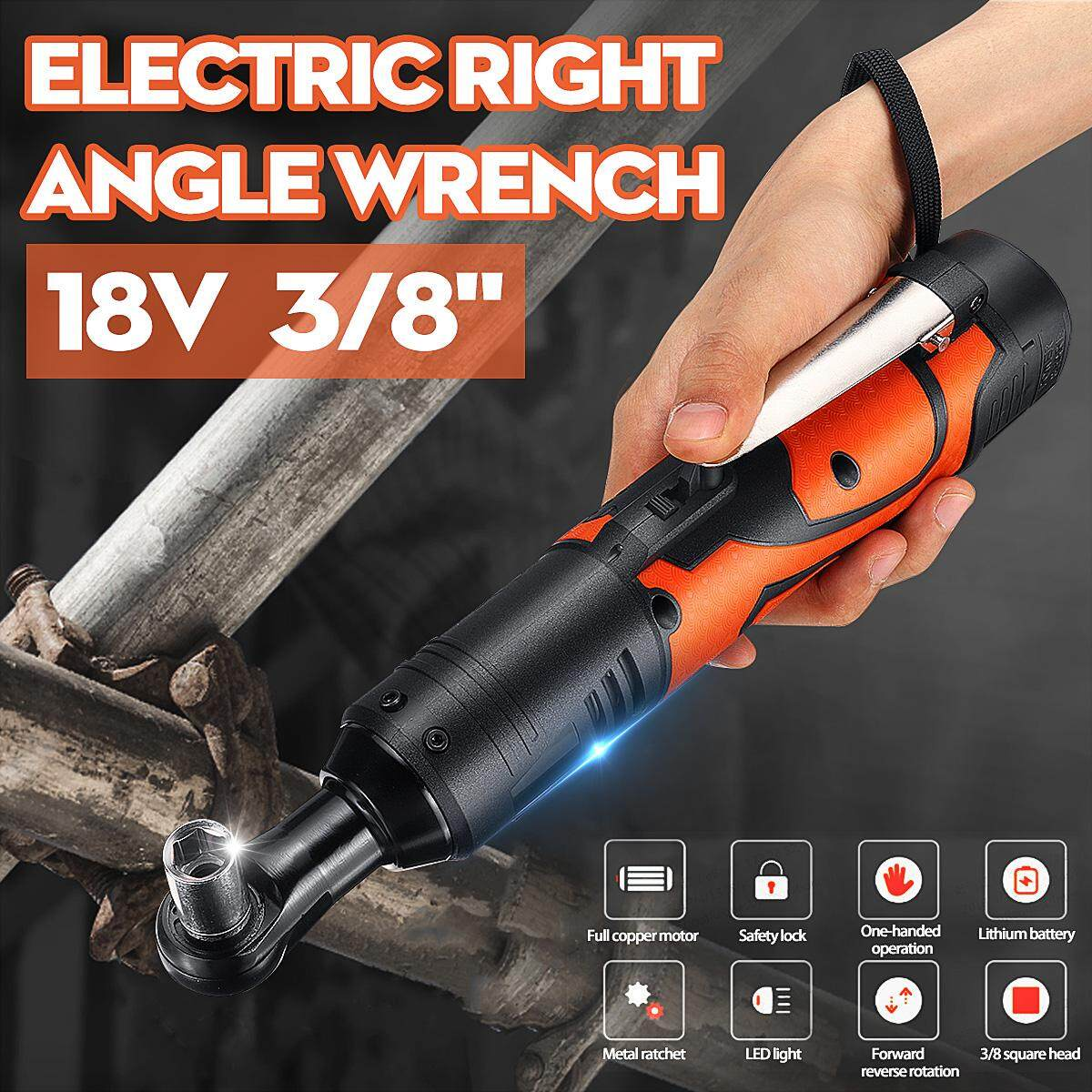 18V 8000mAh 3/8 LED Lighting Portable Cordless Electric Rechargeable Ratchet 90° Right Angle Wrench Set With 1/2pcs Power Source [60N.m] [230RPM]