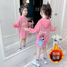Áo Len Xuân Thu Váy Lửng Dài Tay Mới 2021 Cho Bé Gái Cộng Với Nhung Dày