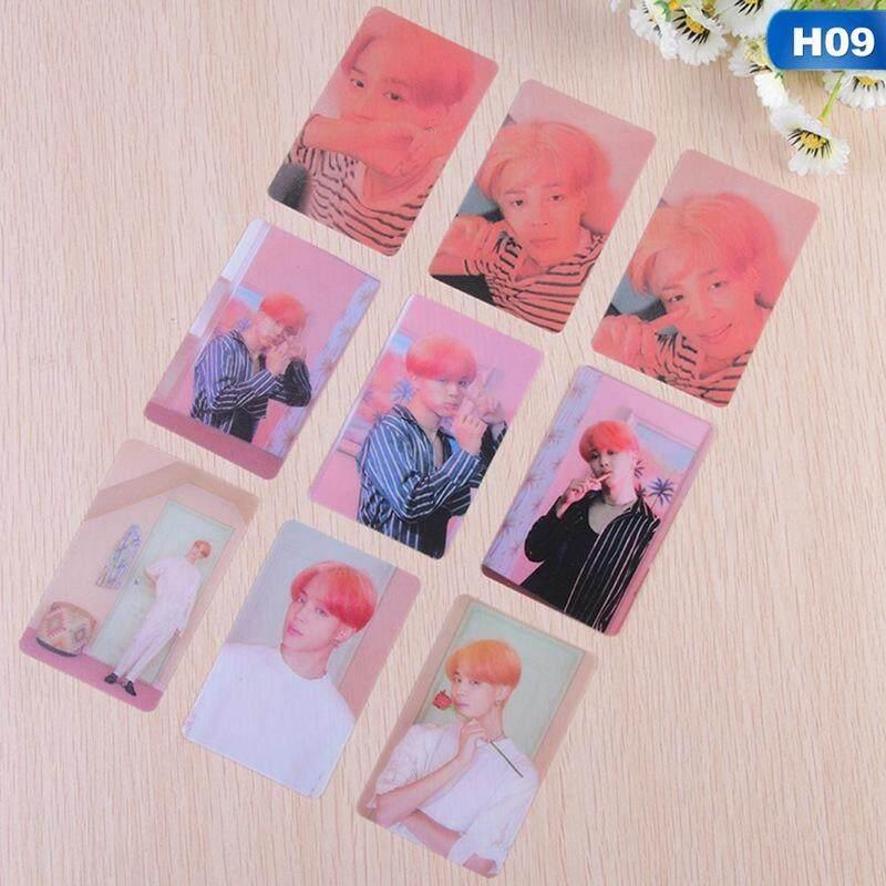 QIANER 9pcs BTS Photo Cards Beautiful Printed Transparent Gift Photocard