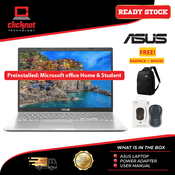 ASUS A516J-PBQ102TS LAPTOP SILVER I5-1035G1, 4GB, 512GB SSD, MX330, 15.6 FHD, W10, OFFICE HOME & STUDENT Malaysia