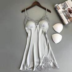 Lianjing Nữ Lụa Phối Ren Áo Dây Đầm Váy Ngủ Váy Ngủ Đồ Ngủ
