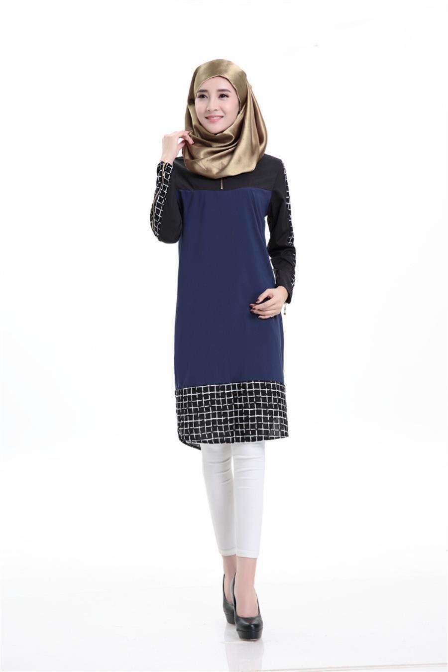 6f9f834f1 OEM New Style Two-way Spandex Muslim Plaid Panel Long Sleeve Short Dress  Saudi Arabia