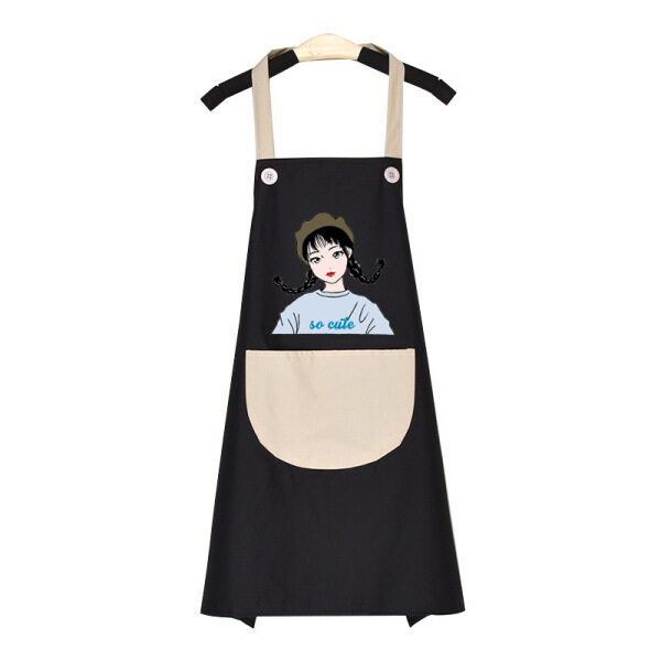 【Fashion Home】Adjustable Cooking Bib Apron Waterproof Kitchen Apron Creative Barbecue Baking Aprons with Pockets for Women Men Chef