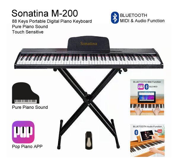 88 Keys Portable Digital Piano Keyboard Pop Piano APP Bluetooth MIDI & Audio Function Pure Piano Sound Touch Sensitive Black Malaysia