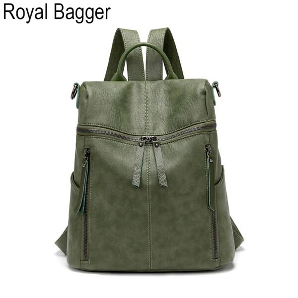 Royal Bagger Genuine Sheepskin Fashion Anti-theft Waterproof Travel Backpack For Women Girls New Super Hot High Capacity Backpacks Women Outdoor Work Shoulder Crossbody Bags Casual Multifunction Handbag