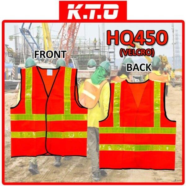 SAFETY VEST VELCRO CLOSURE WITH FOUR LINE REFLECTIVE / JAKET KESELAMATAN - HQ450VELCRO