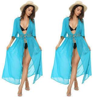 [Cuộc Sống Trong MƠ] Đồ Bơi Che Bikini Cho Nữ Váy Quấn Maxi Đi Biển Váy Kaftan Kimono Sarong thumbnail
