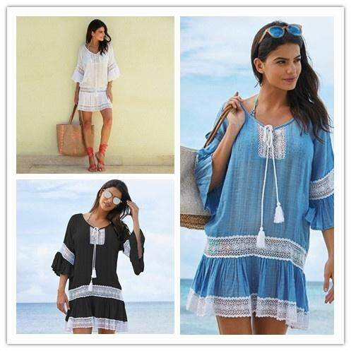 62057c9c71 Beach Cover Up Swimwear Women Cover Ups Lace Beach Dress Tunic Tassel  Crochet Bathing Suit Cover