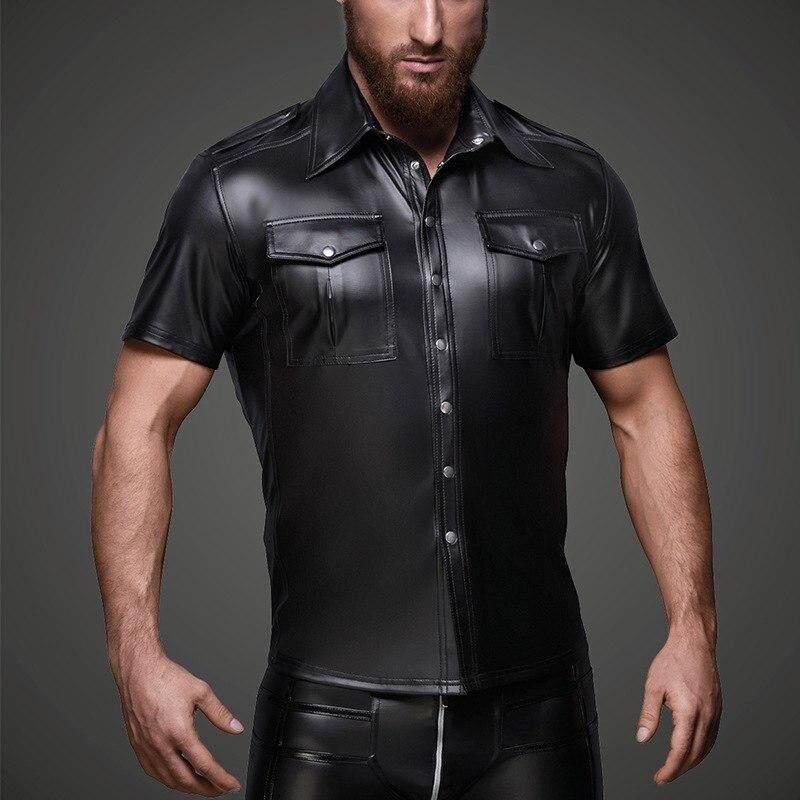 de136489fbdf Wandergo Men Sexy Patent Leather Tight Short Sleeve Shirt Stage Nightclub Costume  Men s Short-Sleeved