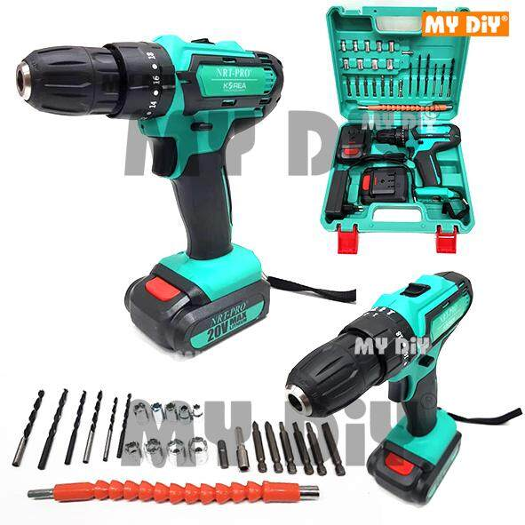 MYDIYHOMEDEPOT - NRT PRO Impact Cordless Drill 20V With 24pcs Accessories & 2 Batteries / Impact Cordless Drill and Powerful