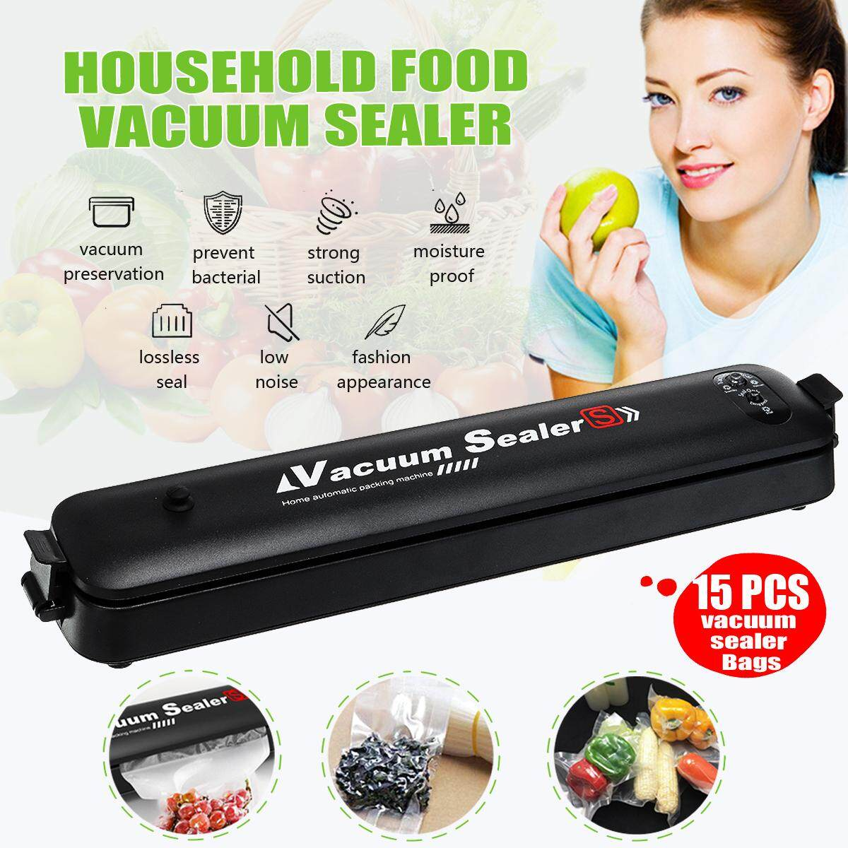 Automatic Vacuum Sealer Saver Food Packing Sealing Machine W/ 15pcs Storage Bag 90w Ac 110v-120v/60hz 220v-240v/50hz Us Plug By Ferry.