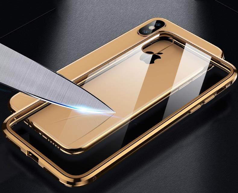 Image 2 for สำหรับ iPhone X/XS MAX 360 Magnetico กระจกนิรภัยเทมเปอร์โปร่งแสงกรอบกันกระแทกบัมเปอร์โลหะ
