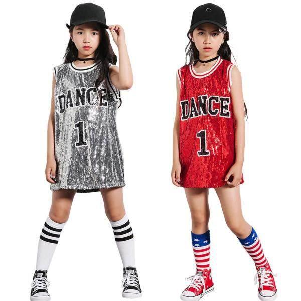 Giá bán Trang phục khiêu vũ Hip hop cho bé gái Trang phục kim sa lấp lánh Váy khiêu vũ đường phố 4-12 năm