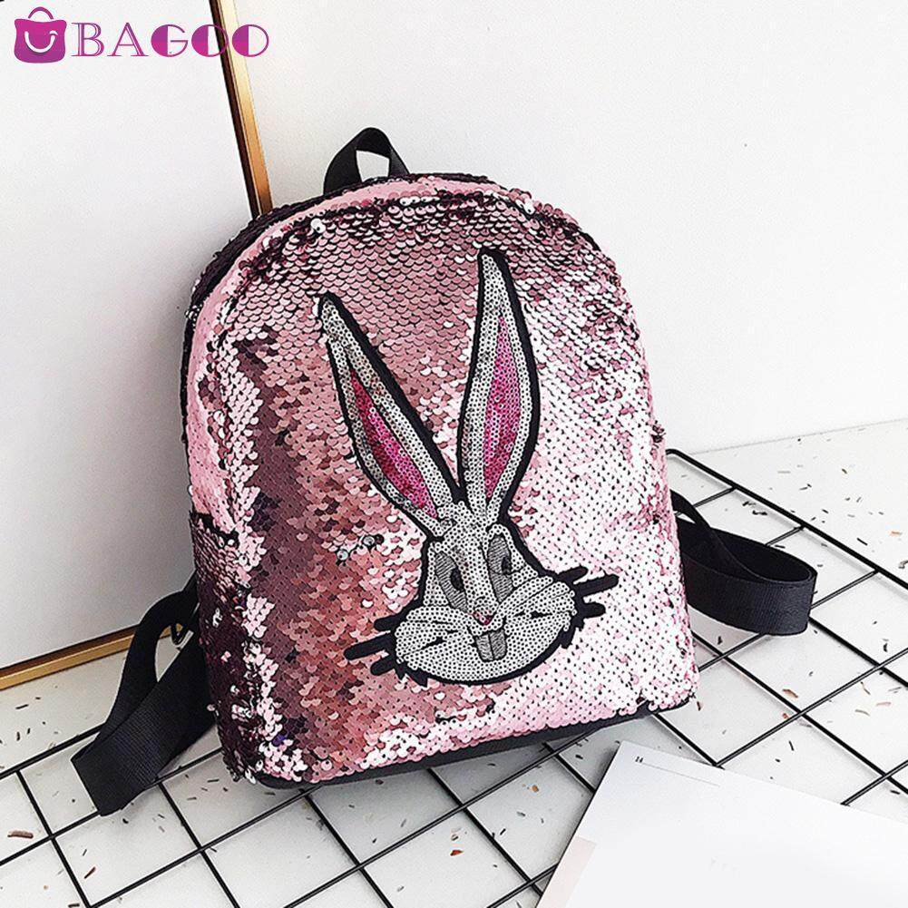 BAGOO Fashion Sequin Bling Girls Mini School Backpacks Cute Cartoon Rabbit Pattern Square Rucksack