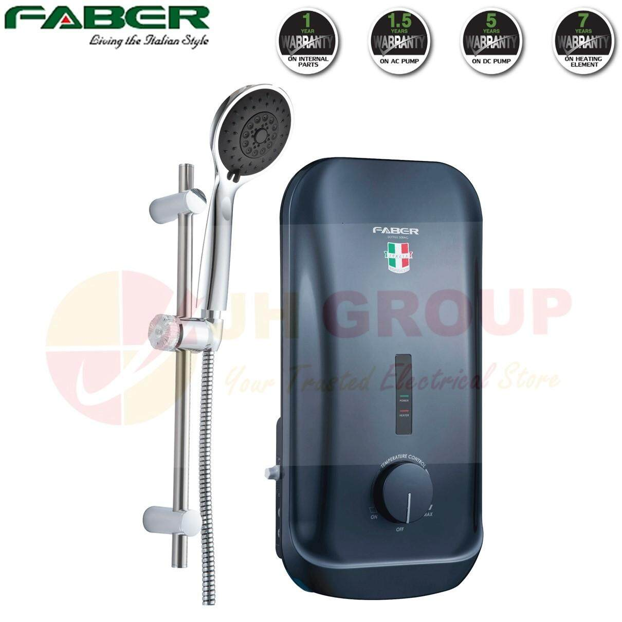 (AUTHORISED DEALER) FABER FWH SOTTILE 308AC(GR) 3.6kW AC PUMP WATER HEATER with CHROME SLIDING SHOWER HEAD