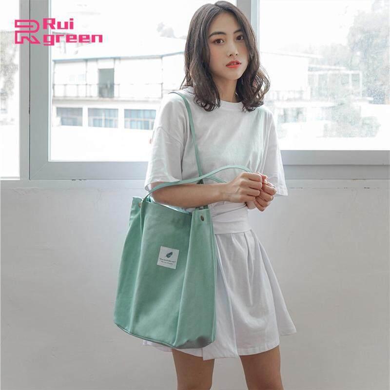 กระเป๋าผ้าใบความจุขนาดใหญ่วรรณกรรมเรียบง่ายวิทยาลัยกระเป๋าสะพายหญิง