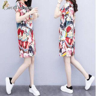 SW Đầm Suông Ngoại Cỡ Trung Niên Váy Mẹ Nữ Váy In Nữ Mùa Hè thumbnail