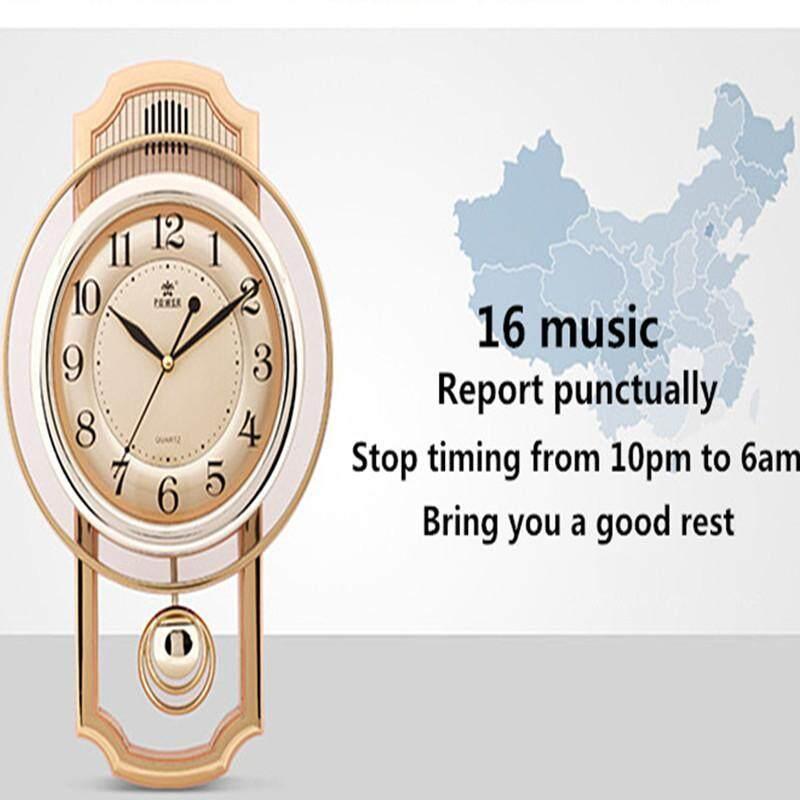 European Wall Clock Silent Pendulum Clock Hourly Timing Music Clock Living Room Home Decoration Clock Quartz Clocks