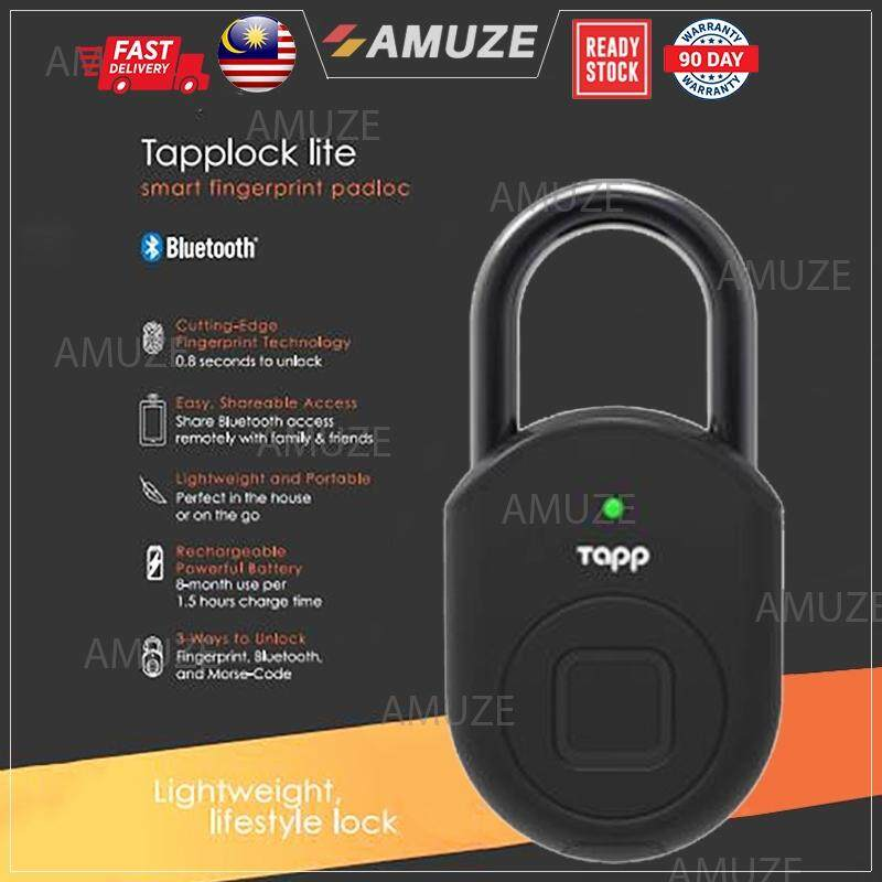 AMUZE Tapplock Lite Safety Pad Lock Stainless Steel Door Bag Battery Smart  Fingerprint Bluetooth Morse Code History Track Water Weather Proof