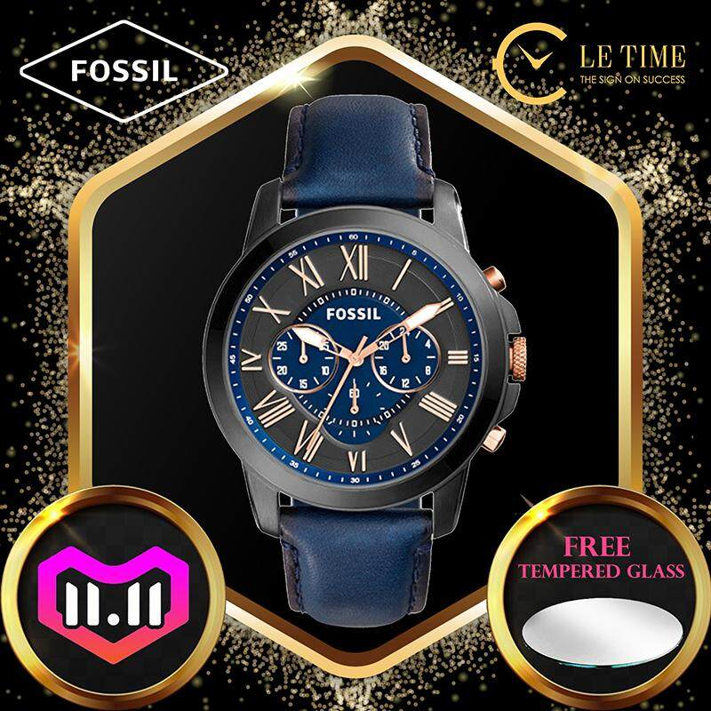 [Authentic *FREE WATCH TEMPERED GLASS*] Fossil Grant Chronograph Navy Leather Men Watch Jam Tangan Lelaki FS5061 For Man Malaysia