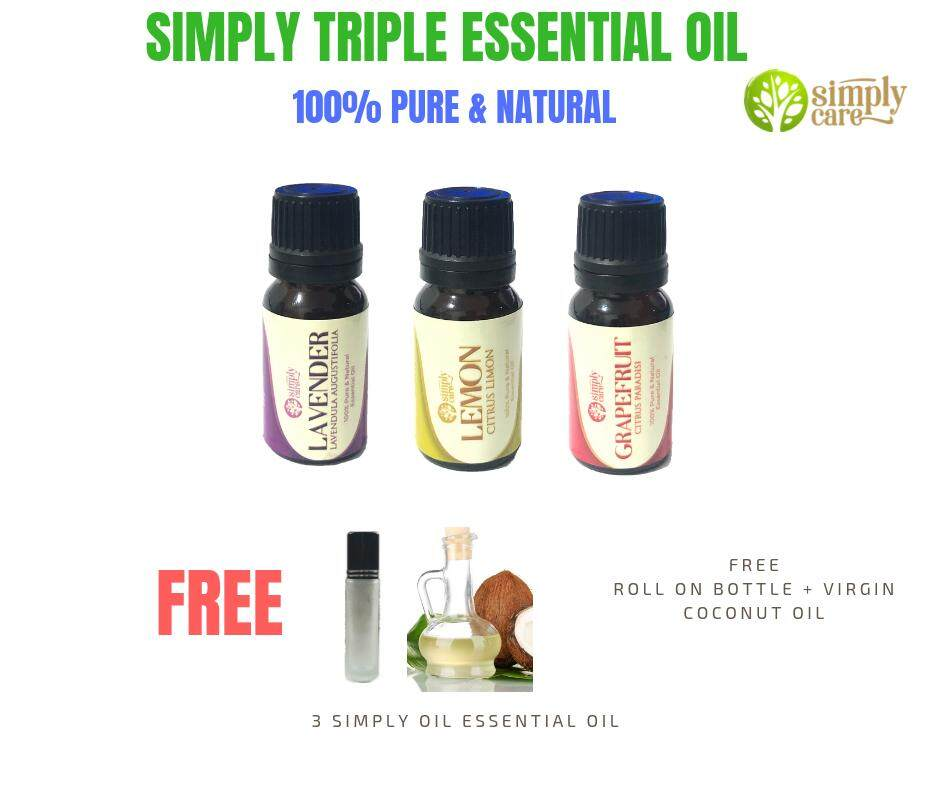 *MERDEKA SALES* Simply Triple 100% Pure Simply Care Essential oil 10ml