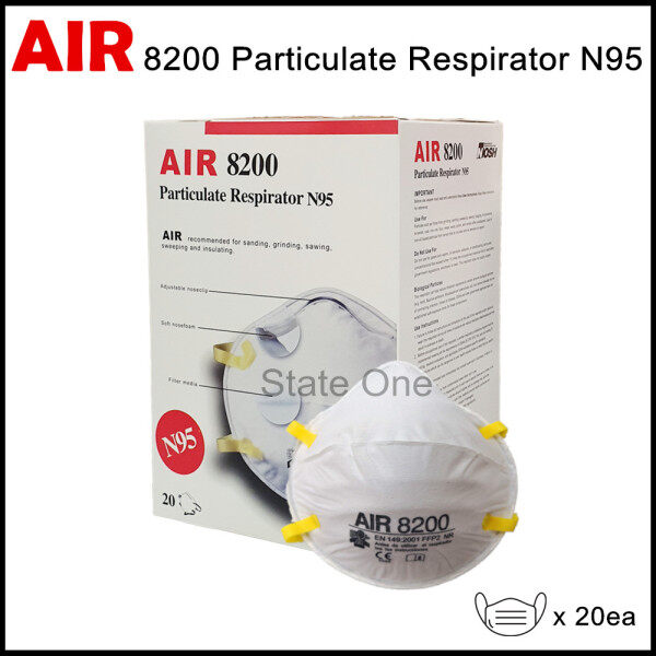 AIR 8200 N95 PARTICULATE RESPIRATOR MASK (20PCS/BOX) EQUIVALENT TO 3M 8210 / DISPOSABLE DUST MASK / FACE MASK FOR DUST & HAZE / PPE / SAFETY EQUIPMENT 防污染口罩