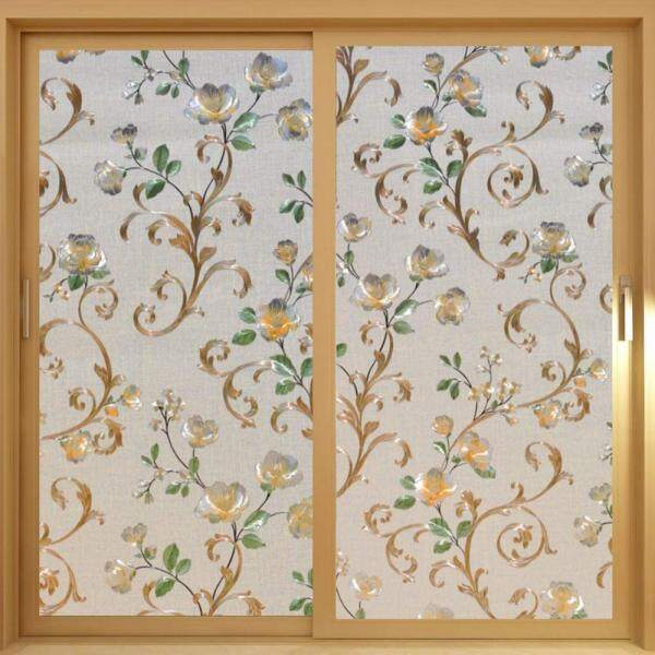Decorative Privacy Window Film Stained Glass Flowers Static Cling Glass Film for Office and Home, Multiple Sizes