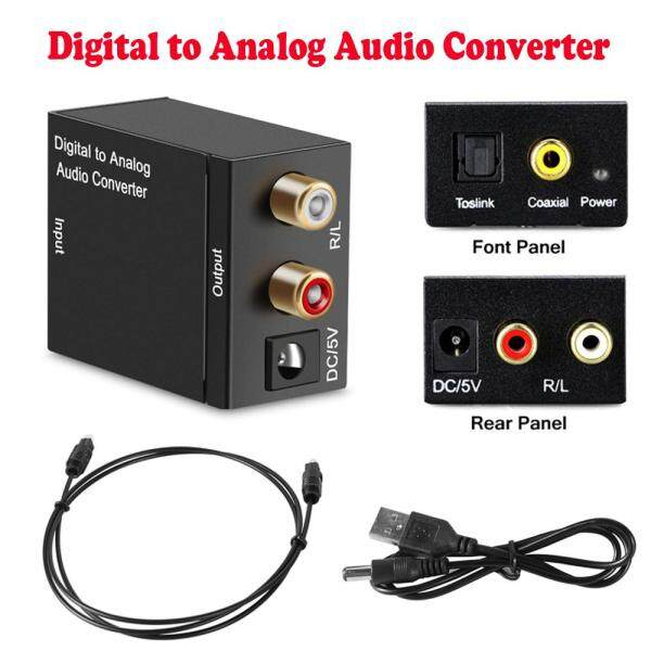 Digital Signal Optical Toslink Coaxial to Analog L/R RCA Audio Converter Adapter with AUX 3.5mm Jack&USB Power Cable&Toslink cable Singapore