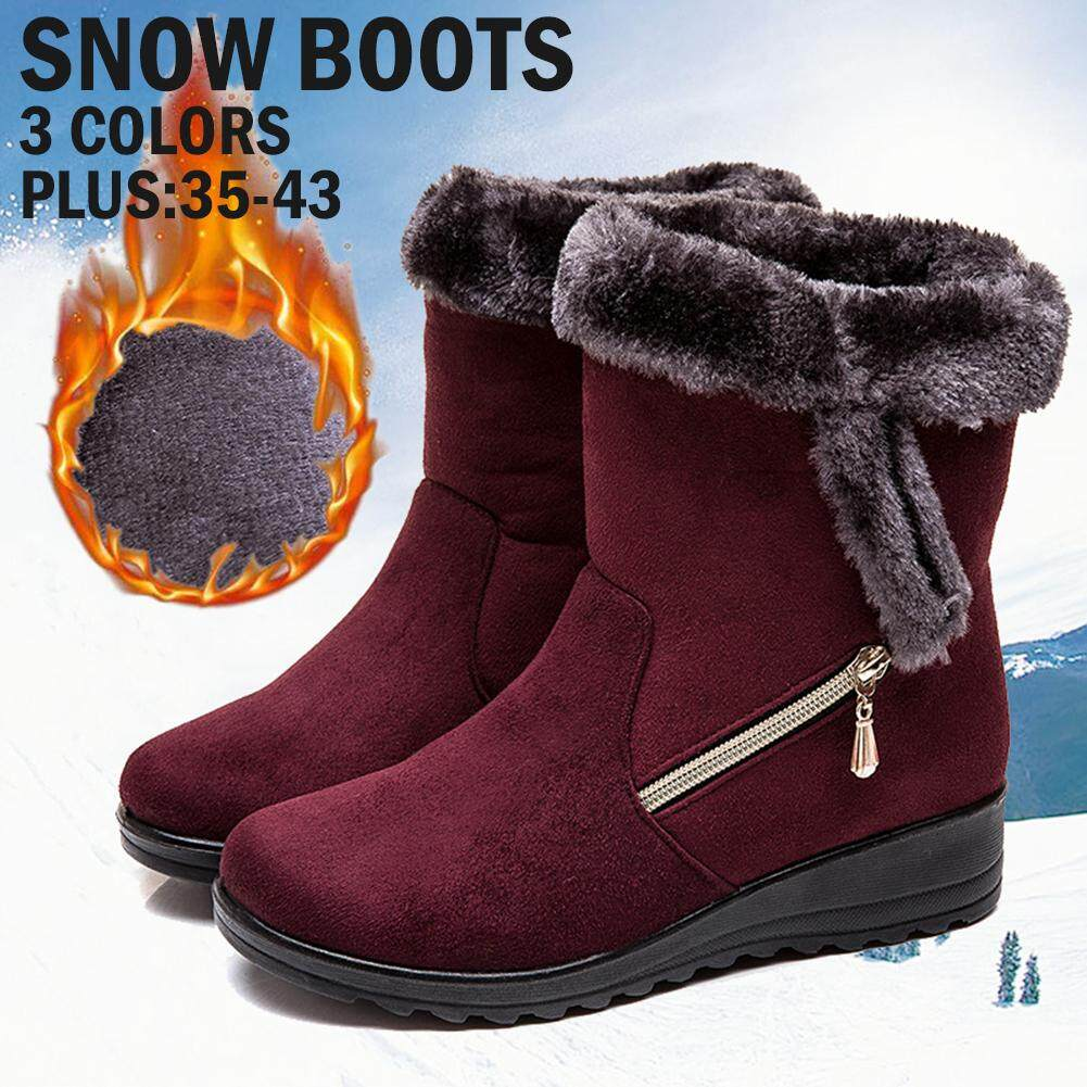 Women/'s Plus Size Low Heel Suede Warm Round Head Casual Snow Boots Cotton Shoes