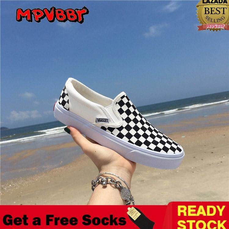 Mpvbbt Classic Checkboard Slip-On Shoe Sneakers Black And White Check Wind Canvas Shoes (35-44) By Mpvbbt Official Store.