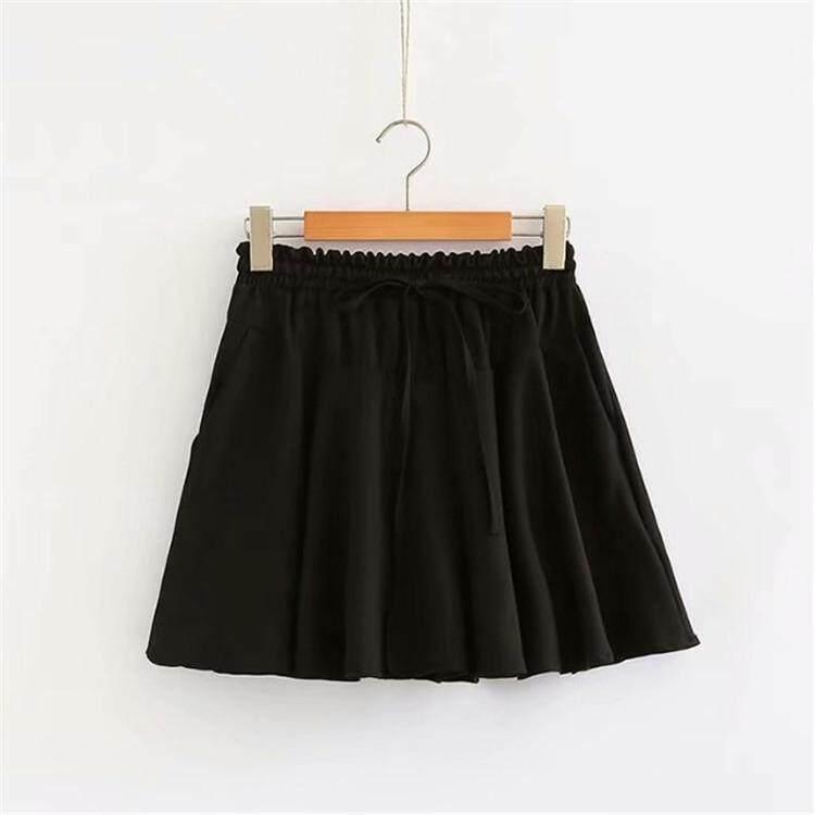 Plus Size Korean Women Shorts Bow Tie Chiffon Bowknot Wide Leg Short Pants