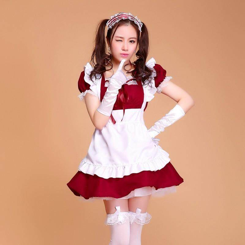 halloween costumes for women maid plus size Sexy French Maid Costume Sweet Gothic Lolita Dress Anime Cosplay Sissy Maid Uniform-in Holidays Costumes from Novelty
