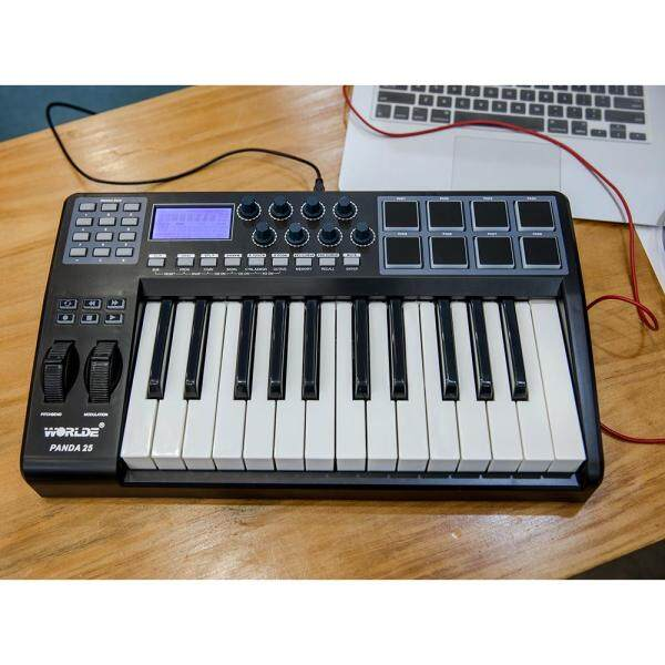 WORLDE PANDA25 Compact 25-Key USB MIDI Keyboard Controller 8 RGB Colorful Backlit Trigger Pads with USB Cable Malaysia