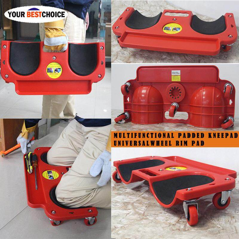 YBC Rolling Knee Creeper Pads Cushioned 350 lbs Capacity 5 Swivel Castors Tool Tray Holder