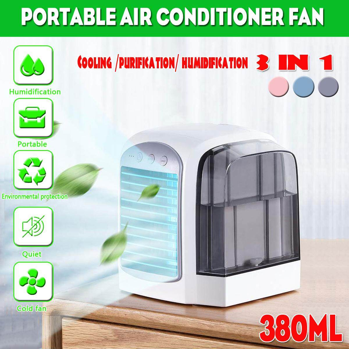 380ML Air Conditioner Fan Mini Cool Bedroom Desk Portable Cooler Cube Water USB Silent